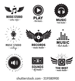 Music studio and radio logos vintage vector set. Hipster and retro style. Perfect for your business design.