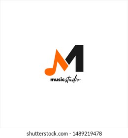 music studio , music record ,musical scale   logo vector  , letter M concept creative and simple