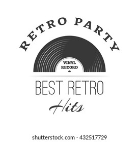 Music style logo templates. Retro music. Vinyl record gramophone. Music record and radio. Retro party and best retro hits. Musical vintage poster and banner.