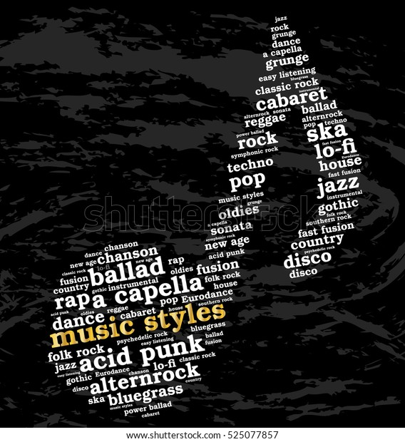 Music Styles Word Cloud Musical Notes Stock Vector (Royalty Free