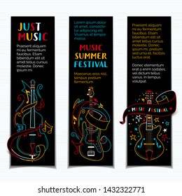 Music summer festival hand drawn vector banner template set. Jazz concert colorful on black background minimalist poster design layout with copyspace. String instruments colored line art