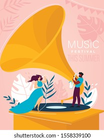 Music Summer Festival Invitation Flyer. Cartoon Woman in Elegant Dress Singing Song in Microphone and Man Playing Saxophone. Tiny Singer and Musician on Huge Gramophone. Vector Flat Illustration