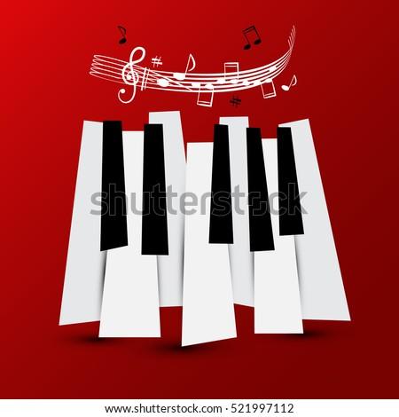 Music Symbol Vector Piano Keys Staff Stock Vector Royalty Free