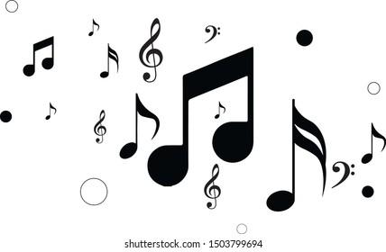 Music symbols black illustration. Various types of symbol of music.