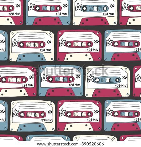 Music Symbols Seamless Pattern Retro Cassettes Stock Vector Royalty