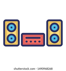 Music System Vector icon which can easily modify or edit