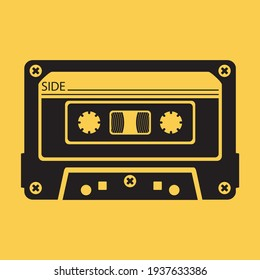 A music tape. Cassette tape. An audio cassette for a tape recorder and other playback devices. Retro-style music and sound media. Vector illustration isolated on a white background for design.