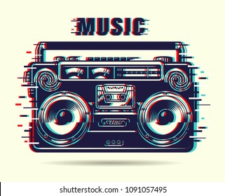 Music tape recorder with glitch effect. Vector illustration