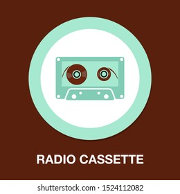 music tape - sound music icon, vector retro radio cassette - media illustration isolated