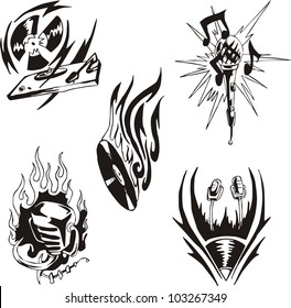 Music tattoos. Set of black and white vector illustrations.