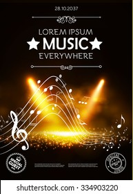 Music, Theater & Show Poster Template with Notes & Spotlights. Vector background