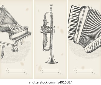 music theme drawings -retro banners