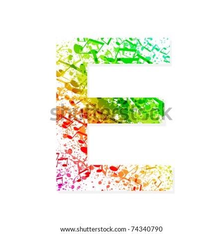 Music Theme Grungy Font Letter E Stock Vector Royalty Free