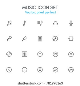 Music theme, line icon set. Pixel perfect, fully editable stroke, black and white, vector icon set suitable for websites, info graphics, and print media.