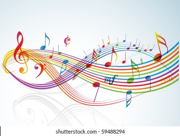 Music theme - rainbow notes on light background