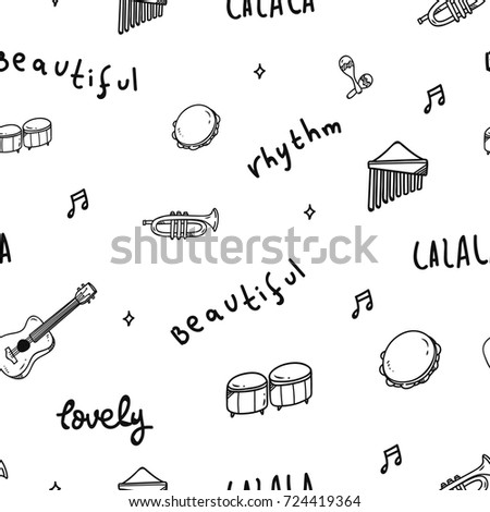 Music Theme Seamless Pattern Stock Vector (Royalty Free