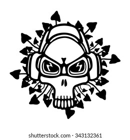 Music theme skull, vector illustration