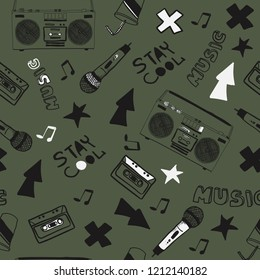 Music theme vector seamless pattern. For textile print and other uses