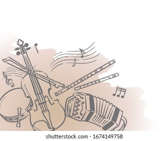 Music themed background with Celtic instruments. Vector illustration.