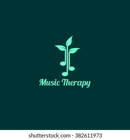 Music therapy logo design template. vector illustration. best for clinic, education, personal, business use.