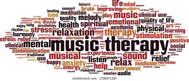 Music therapy word cloud concept. Collage made of words about music therapy. Vector illustration