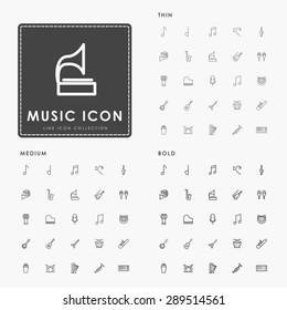 music thin, medium and bold line icons