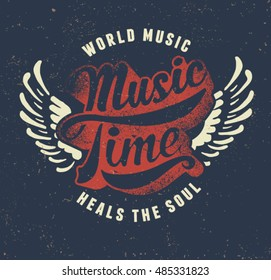 Music time. vintage college typography label. Quality tee print