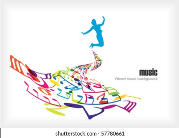 music tones with dancing people
