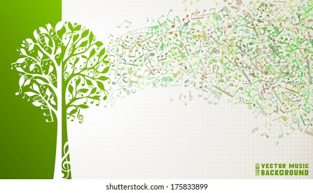 Music tree background. Music notes and treble clefs on tree. Music wave background. Green and white vector illustration.