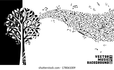 Music tree background. Music notes and treble clefs on tree. Music wave background. Black and white vector illustration.