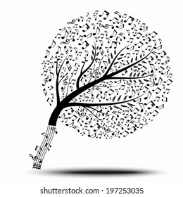 Music of tree and shadow. A vector illustration.