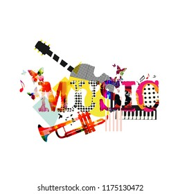 Music typographic colorful background with trumpet, guitar and piano vector illustration. Artistic music festival poster, live concert, creative banner design with music instruments
