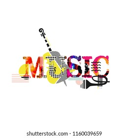 Music typographic colorful background with violoncello and trumpet vector illustration. Artistic music festival poster, live concert, creative banner design. Word music with music instruments