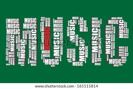 Music Typography 3 D Text Word Art Stock Vektorgrafik Lizenzfrei