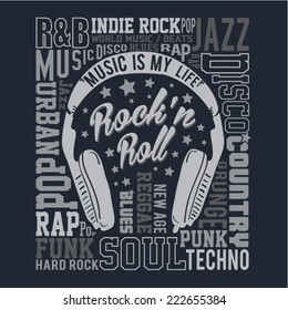 music typography, rock, t-shirt typography, music