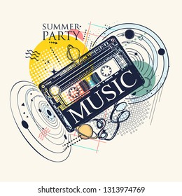 Music in universe. Audio type and solar system. Zine culture style. Hand drawn vector art, musical contemporary collage. Symbol of summer party, 80th and 90th, disco, retro wave