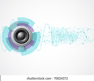 music vector background with speaker and wave