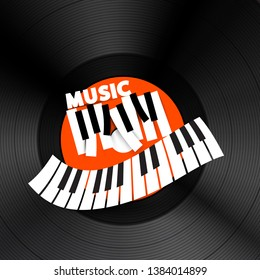 Music Vector CD Cover Design. Piano Keyboards on Vinyl Record Lp Disc Background.