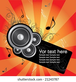 Music vector composition whit flower