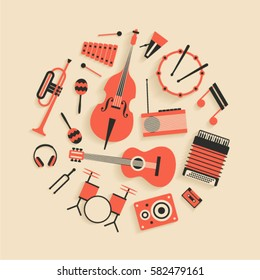 Music, vector flat illustration of musical instruments, icon se, white background. Drum, bass, xylophone, maracas, trumpet, headphones, percussion, guitar, radio, dynamic, accordion, cassette, note