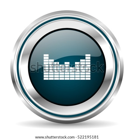 Music Vector Icon Chrome Border Round Stock Vector (Royalty Free