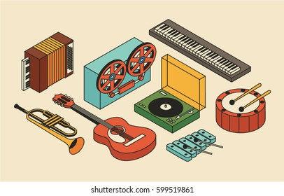 Music, vector illustration, icon set, isometric background. Drum, reel tape recorder, xylophone, trumpet, dj mixer, acoustic guitar, accordion, piano