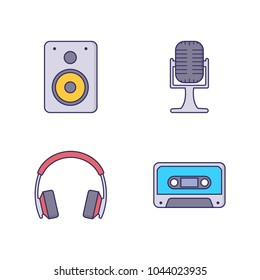 Music vector illustration with speaker and headphone icons