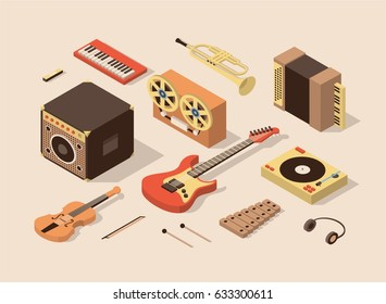 Music, vector isometric illustration, 3d icon set, Amplifier, reel tape recorder, violin, electric guitar, xylophone, headphones, dj mixer, accordion, trumpet, piano