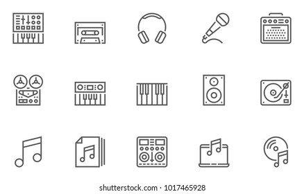 Music Vector Line Icons Set. Contains Keyboard, Music Speaker, Musical Equipment and more. Editable Stroke. 48x48 Pixel Perfect.