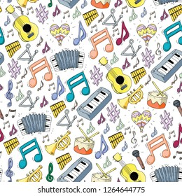 Music vector pattern. Jazz, rock festival. Musical instruments and notes.