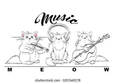 Music. Vector set of cute spring cats. Orchestra of charming kittens. Fiddler, double bass and music lover. Illustration in sketch style. Three kittens. Funny cartoon characters.