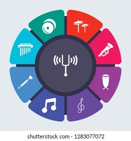 music vector template for infographics. Business concept with 9 options, steps, parts, segments. Banner infographic cycling diagram, round chart, Diapason, Cymbals, Cymbal, cornet, Conga icons
