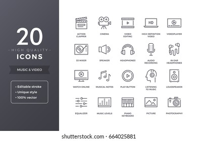 Music and video icons. Vector audio, cinema and multimedia icon set with editable stroke