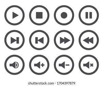 Music or video player icon set. Play, pause, stop, record and next buttons.